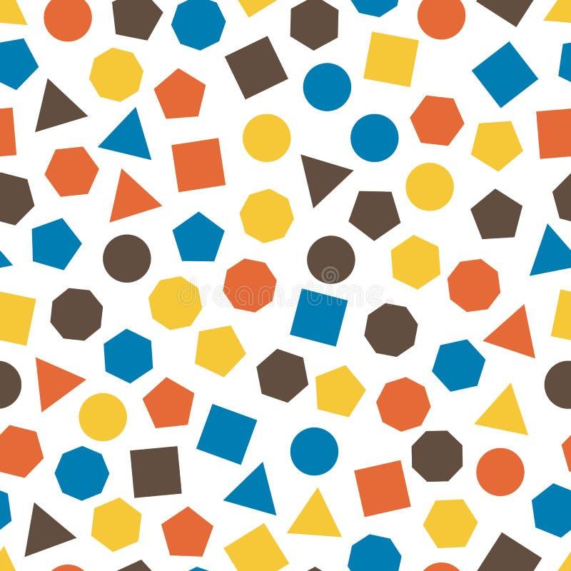 Безшовная геометрическая картина с квадратами, треугольниками, кругами, пентагонами, шестиугольниками и семиугольниками для ткани иллюстрация вектора