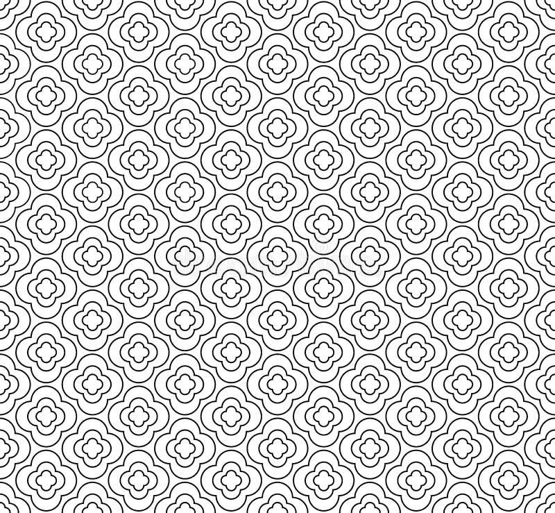 Безшовная геометрическая линия картина в аравийском стиле, этнический флористический орнамент Вектор и иллюстрация иллюстрация штока