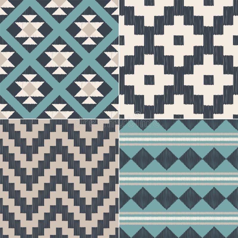 Безшовная геометрическая племенная ацтекская картина ткани для домашнего дизайна интерьера иллюстрация вектора