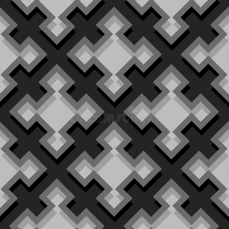 Безшовная геометрическая предпосылка с квадратными элементами Черная и серая картина 3d иллюстрация вектора