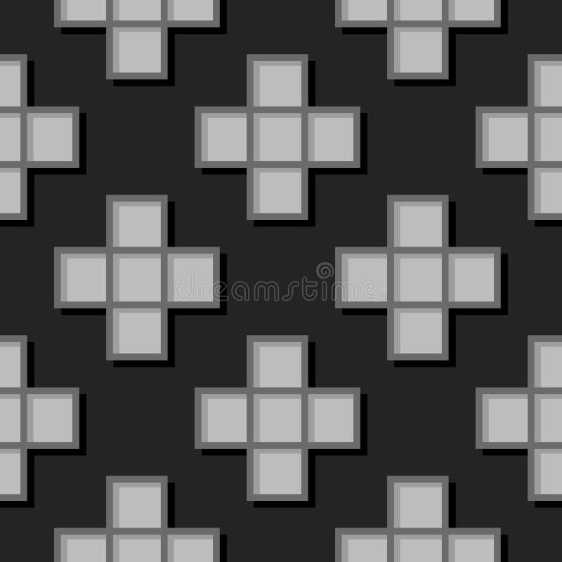 Безшовная геометрическая предпосылка с квадратными элементами Черная и серая картина 3d бесплатная иллюстрация
