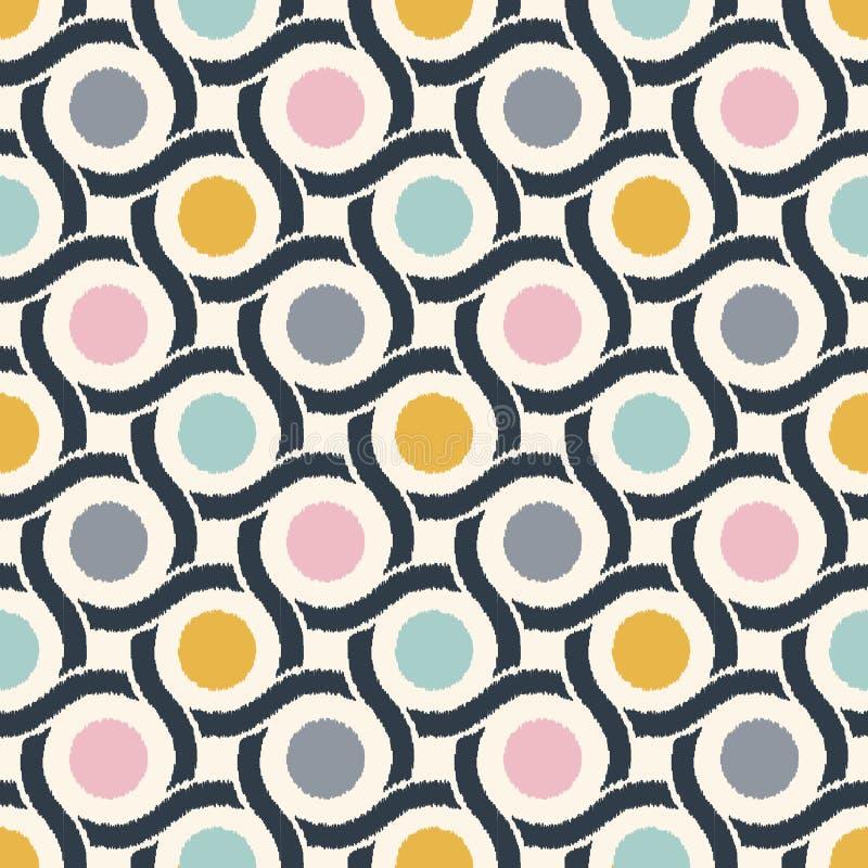 Безшовная геометрическая стильная ретро картина обоев текстуры сетки круга 60s иллюстрация вектора