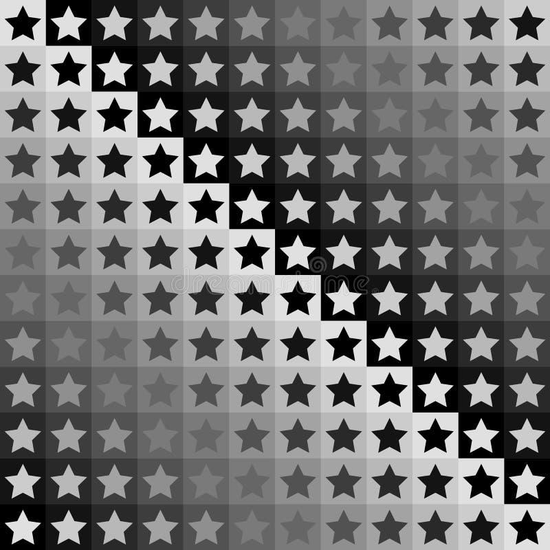 безшовная геометрическая monochrome картина Печать или предпосылка с черными, серыми, серыми и белыми звездами на квадратах иллюстрация вектора