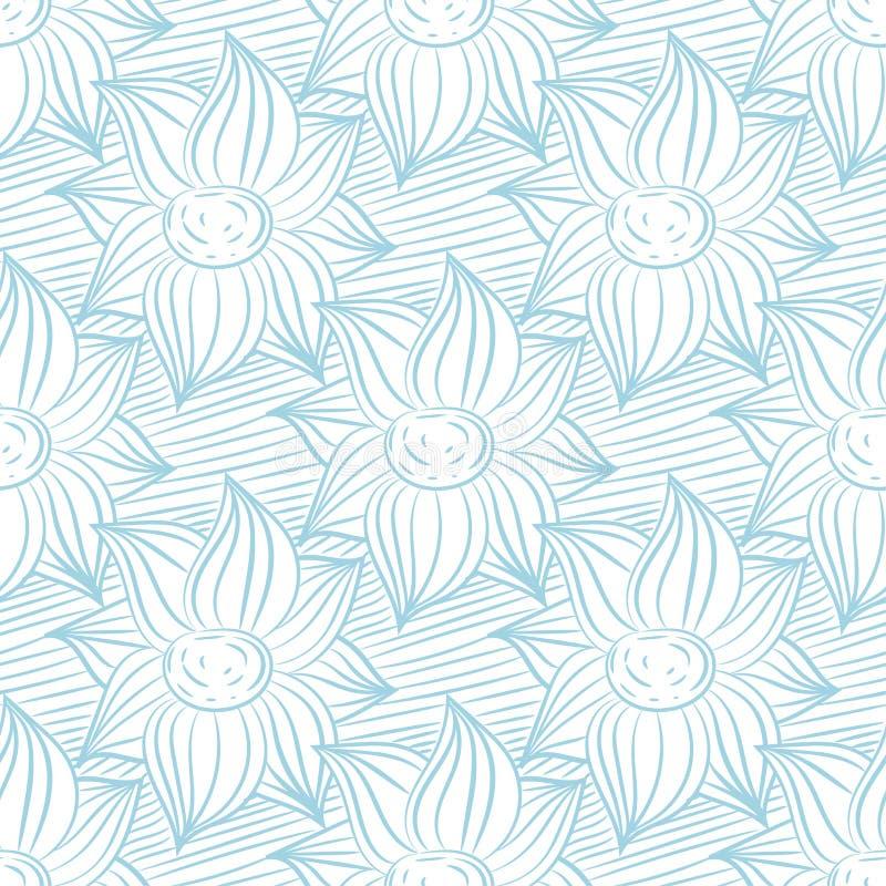 Безшовная голубая и белая картина с орнаментами обоев бесплатная иллюстрация