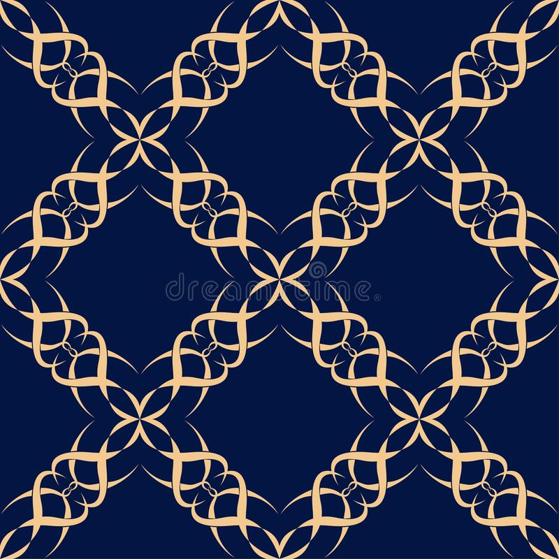 Безшовная голубая картина с золотыми флористическими орнаментами бесплатная иллюстрация