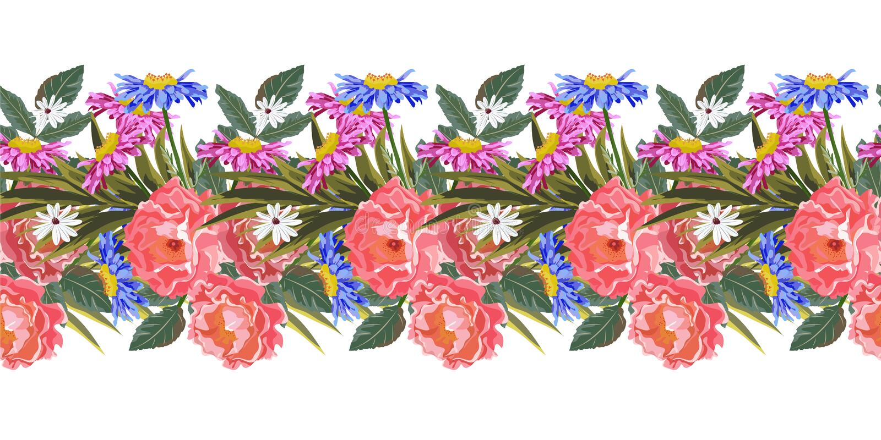 Безшовная горизонтальная граница с милыми цветками сада иллюстрация вектора
