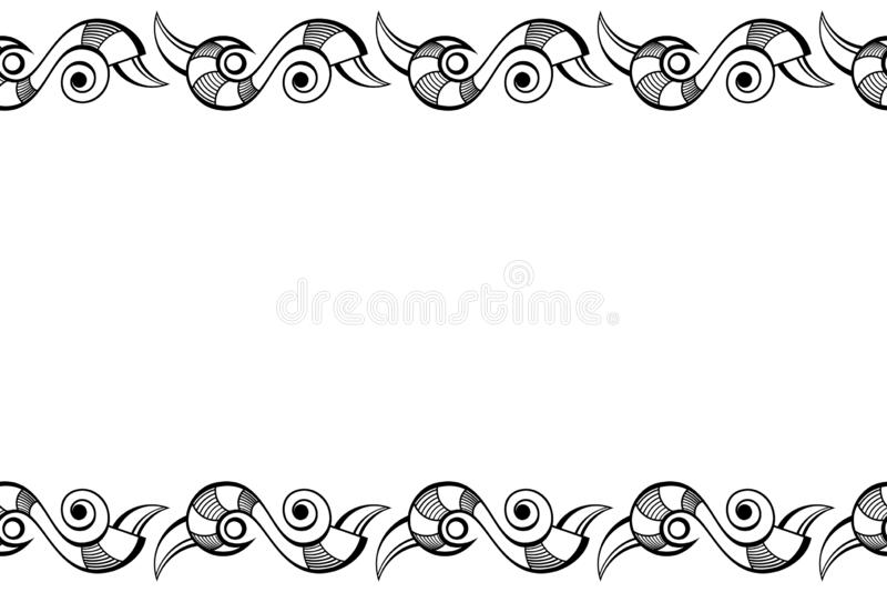 Безшовная горизонтальная картина границы с абстрактными геометрическими символами изолированная на белой предпосылке бесплатная иллюстрация