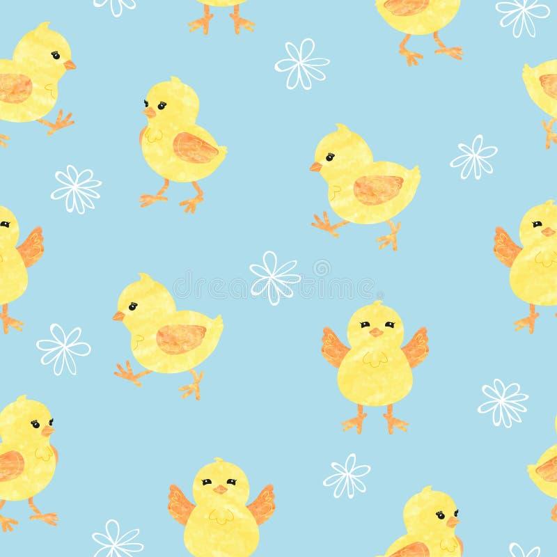 Безшовная голубая картина с милыми маленькими цыплятами иллюстрация штока