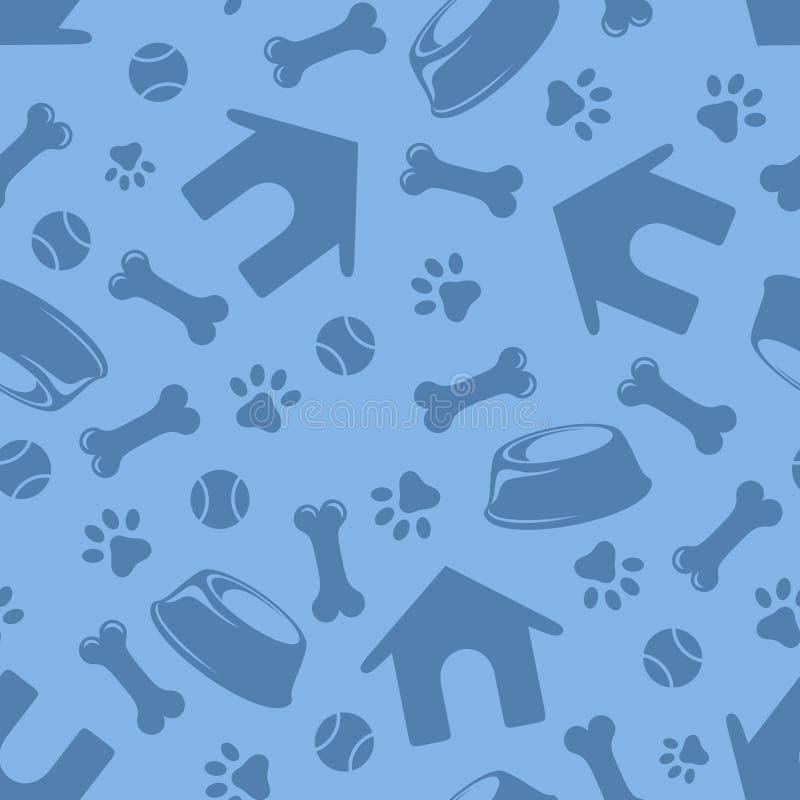 Безшовная голубая картина с символами собак также вектор иллюстрации притяжки corel иллюстрация вектора