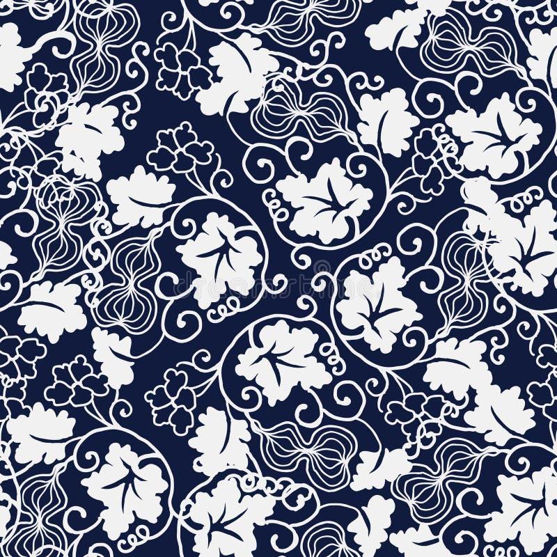 Безшовная голубая японская лоза лист спирали тыквы предпосылки иллюстрация штока