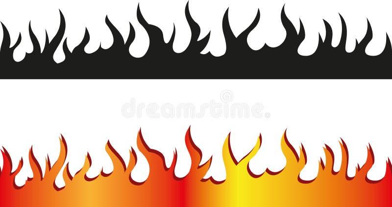 Безшовная граница пламени иллюстрация вектора