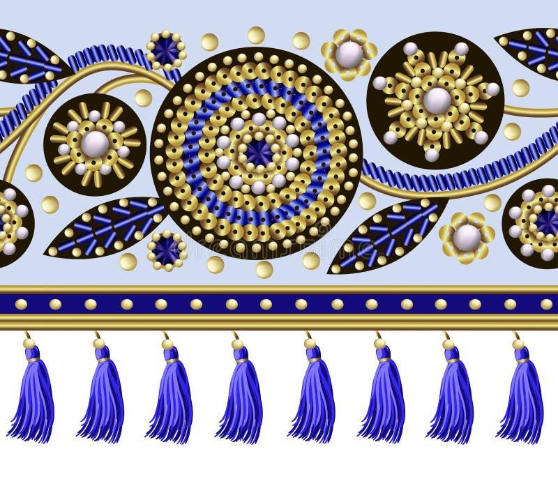 Безшовная граница с цветками вышила sequins, шарикам и жемчуга и края для ткани конструируют Иллюстрации моды вектора бесплатная иллюстрация