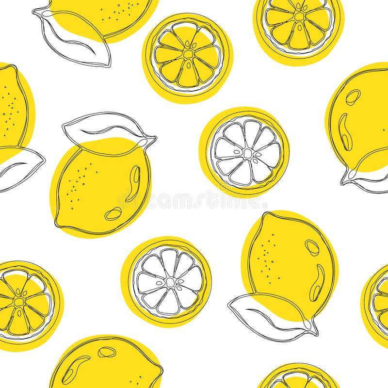 Безшовная декоративная предпосылка с желтыми лимонами Картина притяжки руки лимона также вектор иллюстрации притяжки corel иллюстрация штока
