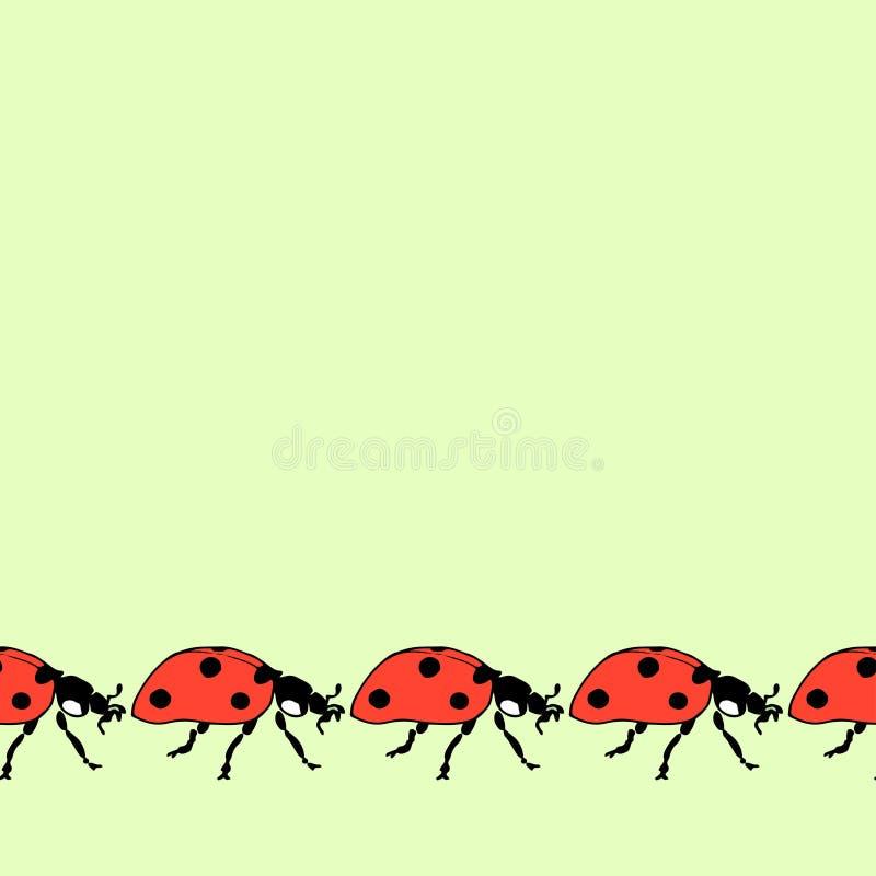 Безшовная декоративная граница от идущих ladybugs иллюстрация штока