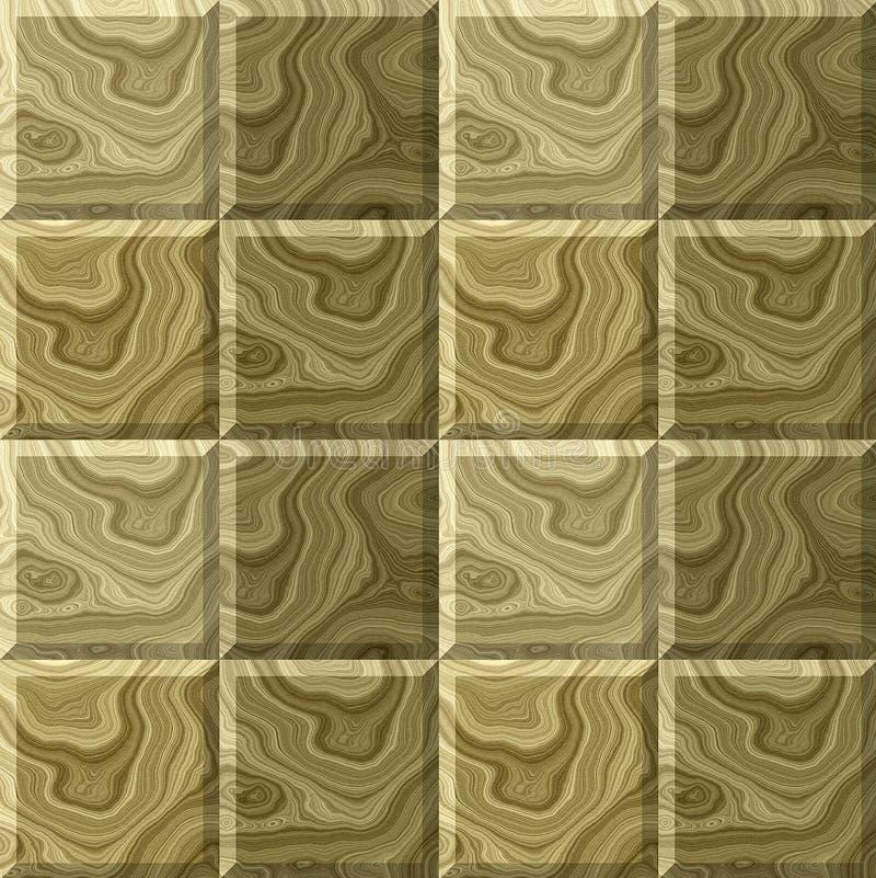 Безшовная деревянная картина квадратов с типичной структурой колец иллюстрация вектора