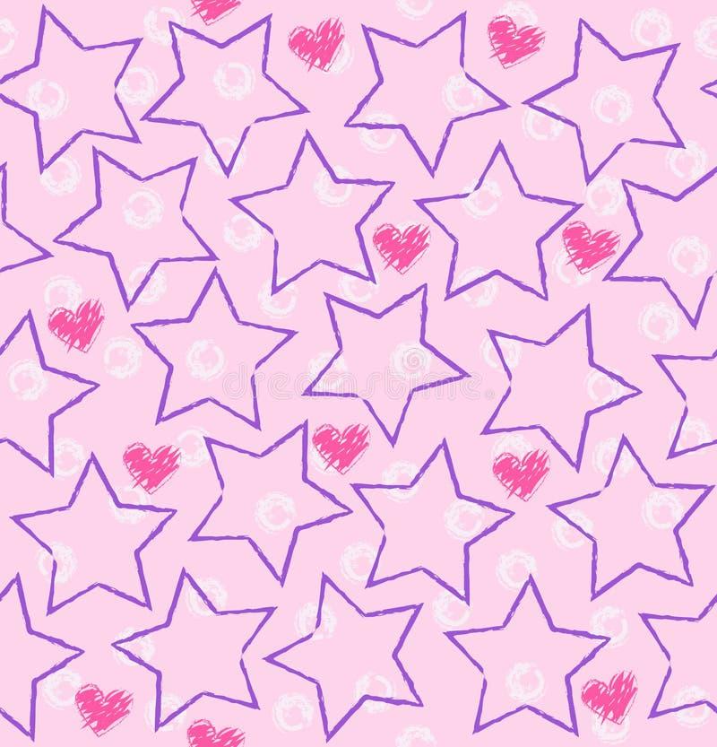 Безшовная звезда вектора, картина сердца иллюстрация вектора