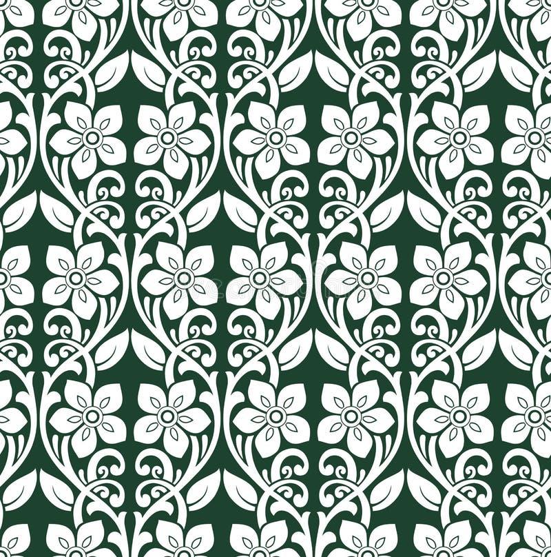 Безшовная зеленая картина штофа цветка вектора бесплатная иллюстрация