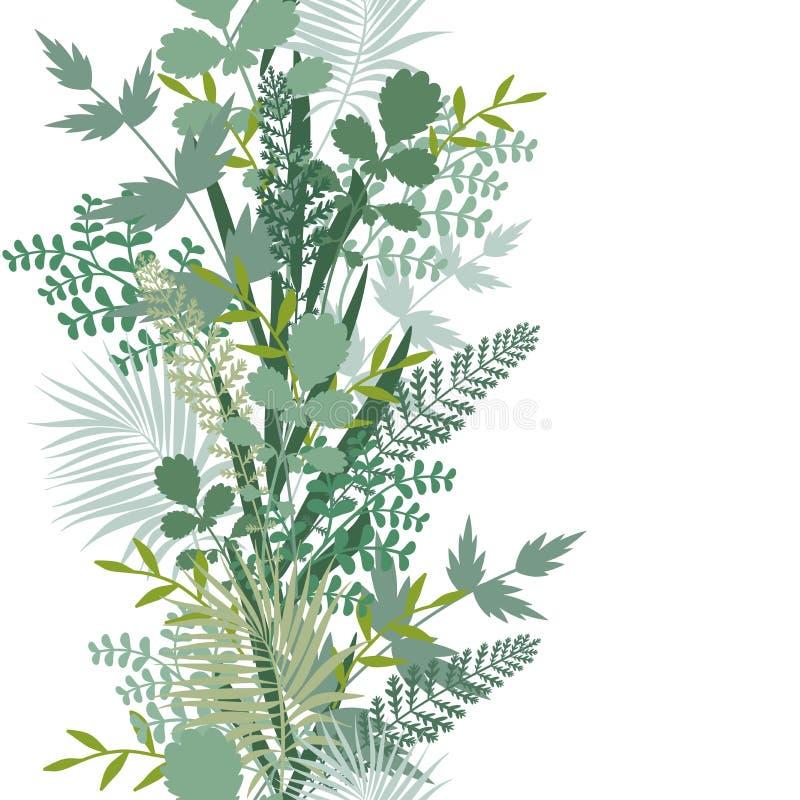 Безшовная зеленая флористическая картина Повторять текстуру на белой предпосылке Улучшите для печатать на ткани или заверните в б бесплатная иллюстрация