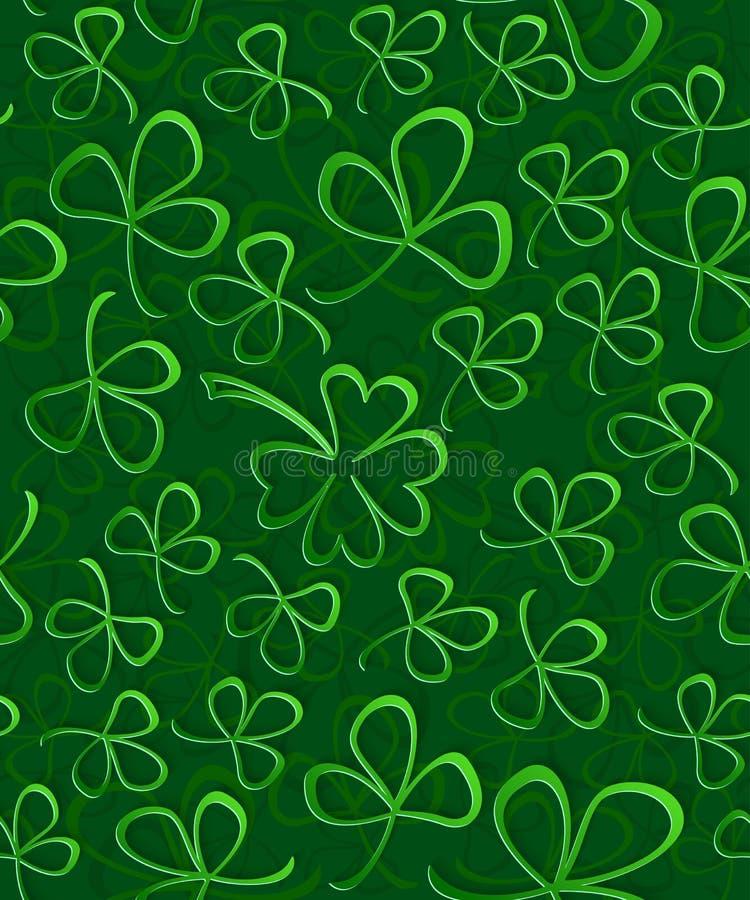 Безшовная зеленая книга 3D отрезала клевер на день ` s St. Patrick, упаковочную бумагу картины Shamrock, листву клевера орнамента иллюстрация вектора