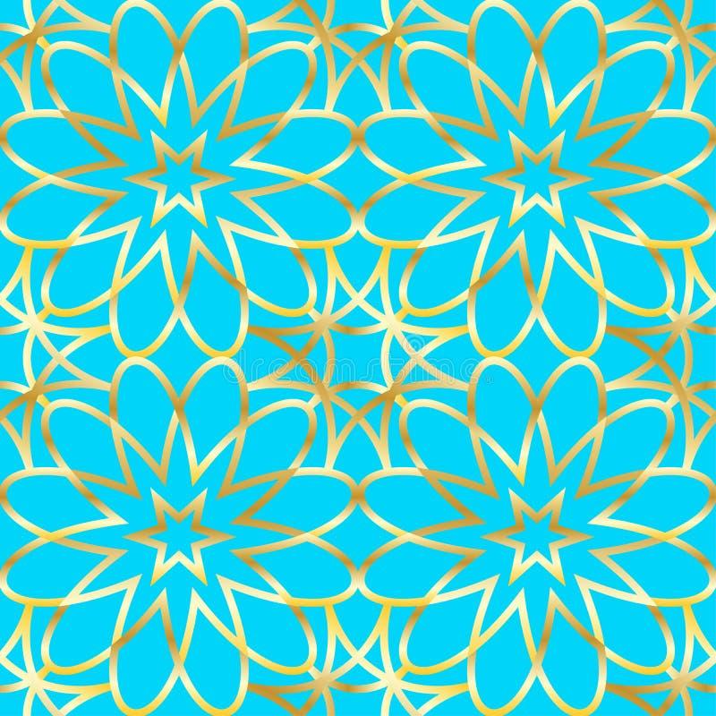 Безшовная золотая арабская геометрическая картина Предпосылка арабескы вектора традиционная мусульманская бесплатная иллюстрация
