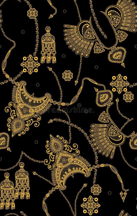 Безшовная золотая картина на черном цвете стоковые фото