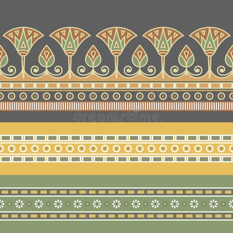 Безшовная иллюстрация вектора египетского национального орнамента с цветком лотоса бесплатная иллюстрация