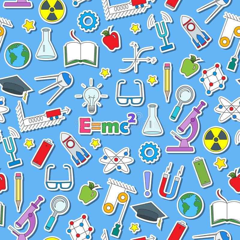 Безшовная иллюстрация вопроса образования физики, простых покрашенных значков стикера на голубой предпосылке иллюстрация штока