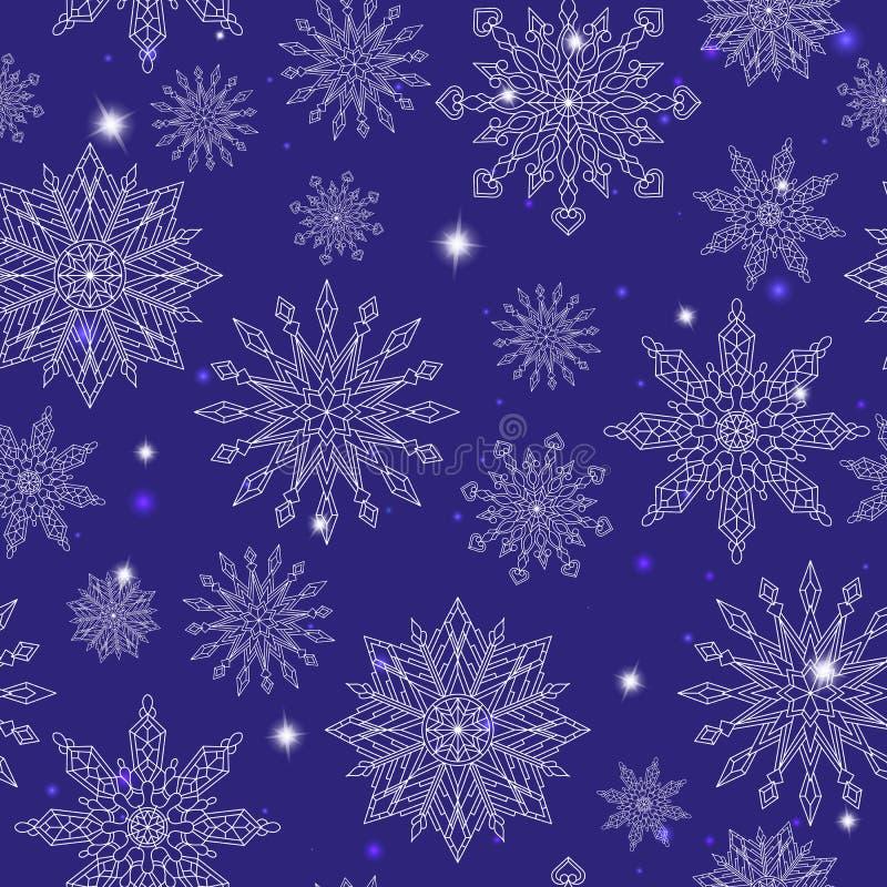 Безшовная иллюстрация на теме зимы и зимних отдыхов, контур снежинки и sters, белые снежинки на bl бесплатная иллюстрация
