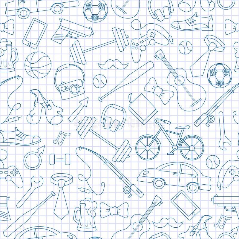 Безшовная иллюстрация на теме мужских хобби и привычек, простых нарисованных вручную голубых значков контура на чистой сочинитель иллюстрация штока