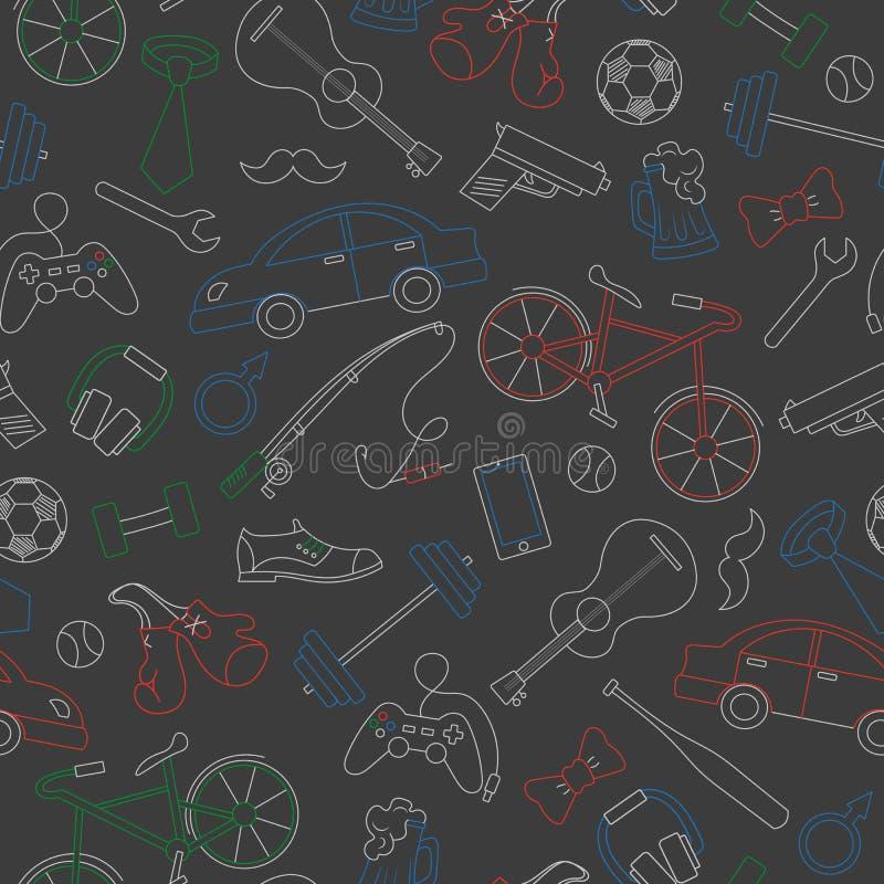 Безшовная иллюстрация на теме мужских хобби и привычек, простых покрашенных мел на темном школьном правлении иллюстрация вектора