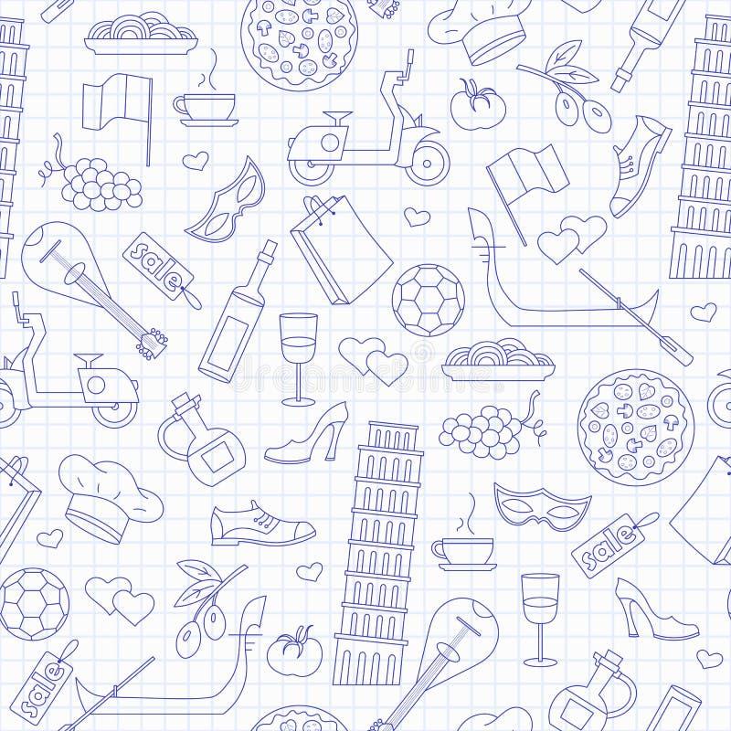 Безшовная иллюстрация на теме путешествия в стране Италии, голубые значки контура на чистой сочинительств-книге покрывает в a иллюстрация вектора