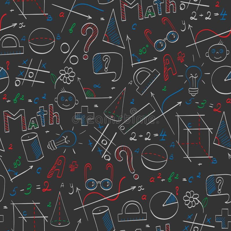 Безшовная иллюстрация на теме школы, образования и математики вопроса, нарисованные вручную графики, формулы иллюстрация вектора