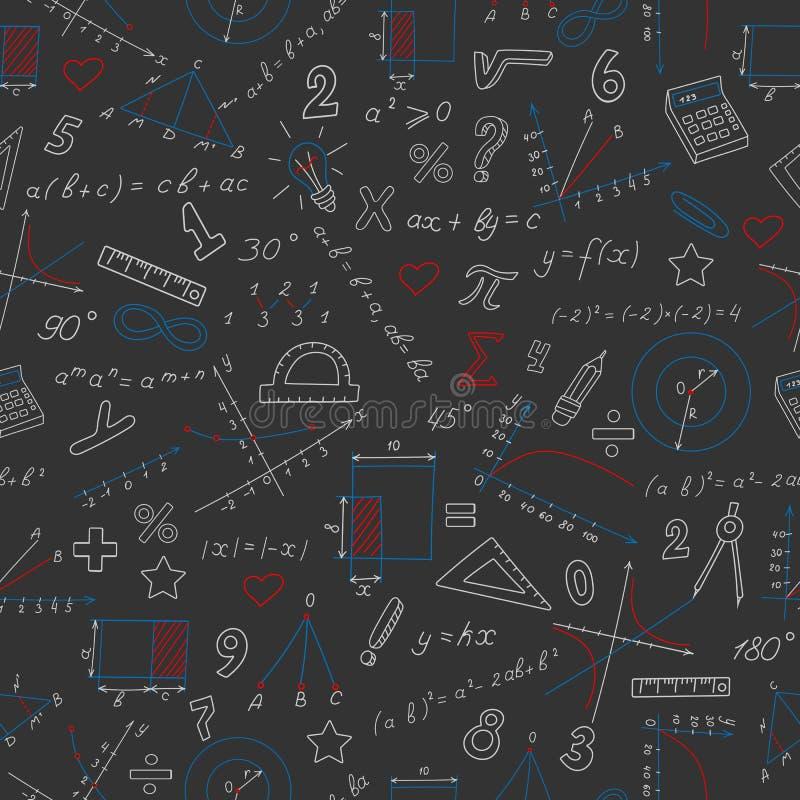 Безшовная иллюстрация с формулами и диаграммами на теме математики и образования, покрашенных мел на темном школьном правлении иллюстрация штока