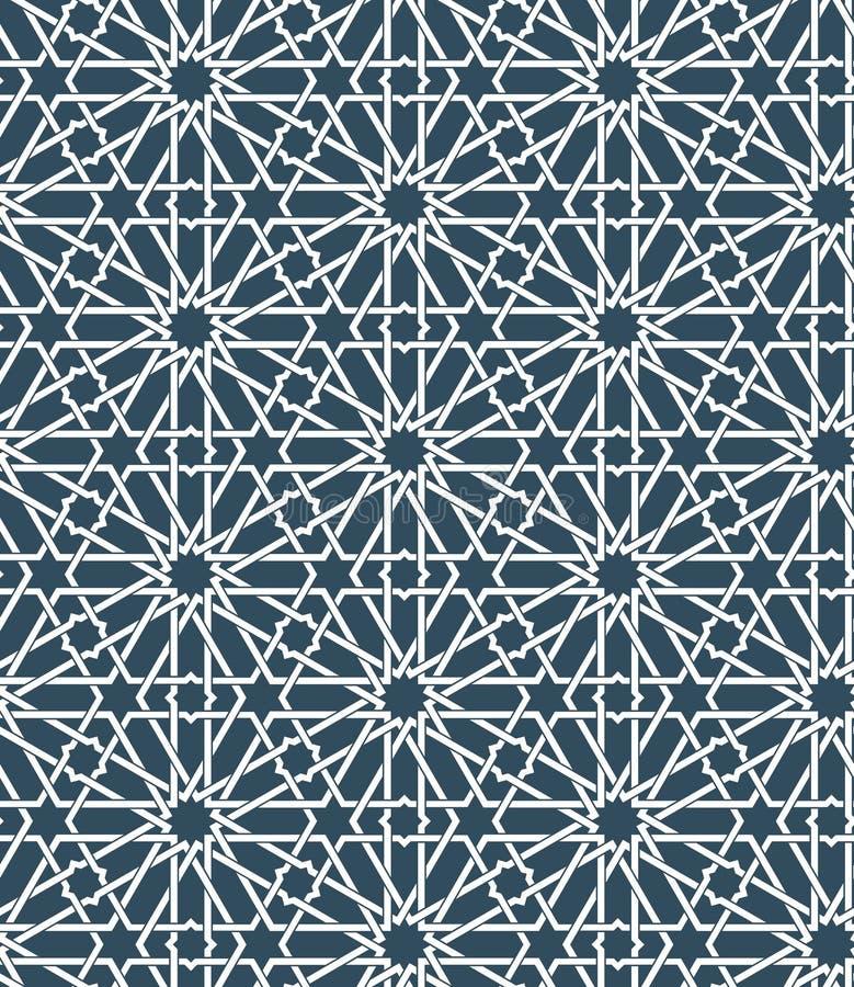 Безшовная исламская морокканская картина Арабский геометрический орнамент Мусульманская текстура Год сбора винограда повторяя пре иллюстрация вектора