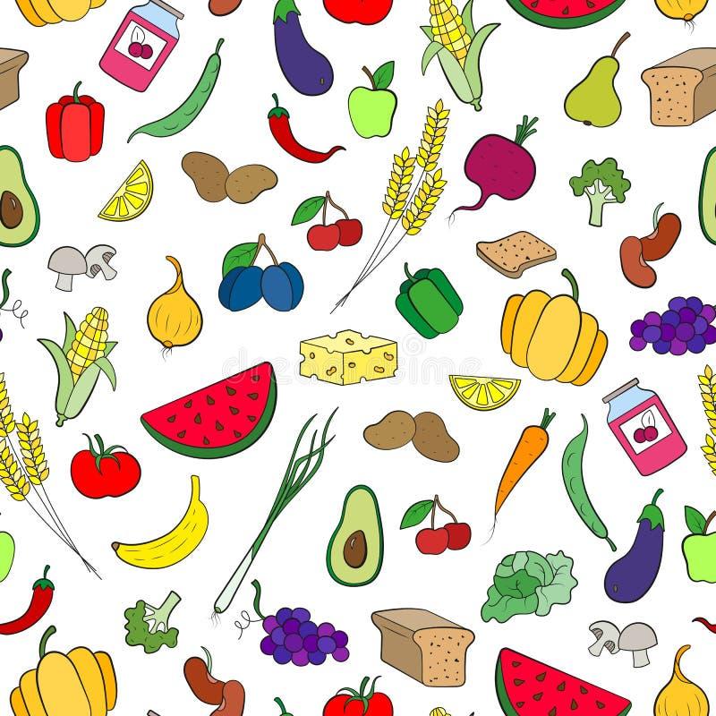 Безшовная иллюстрация на теме вегетарианства, простых значков, гастрономов подписывает на белой предпосылке бесплатная иллюстрация