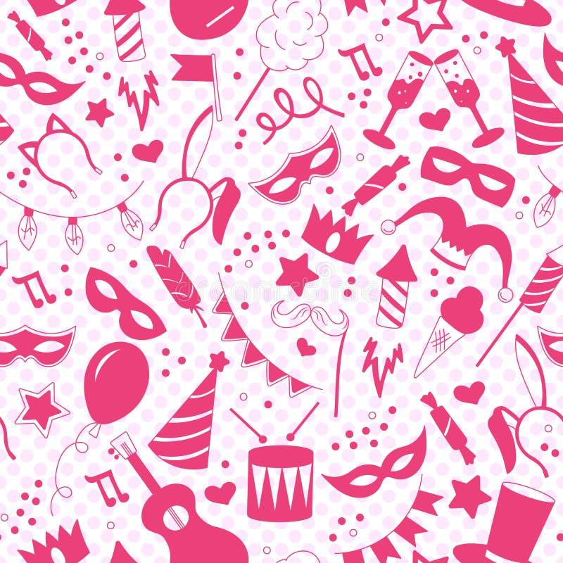 Безшовная иллюстрация на теме masquerade и масленицы, розовые силуэты значков на предпосылке точек польки иллюстрация вектора