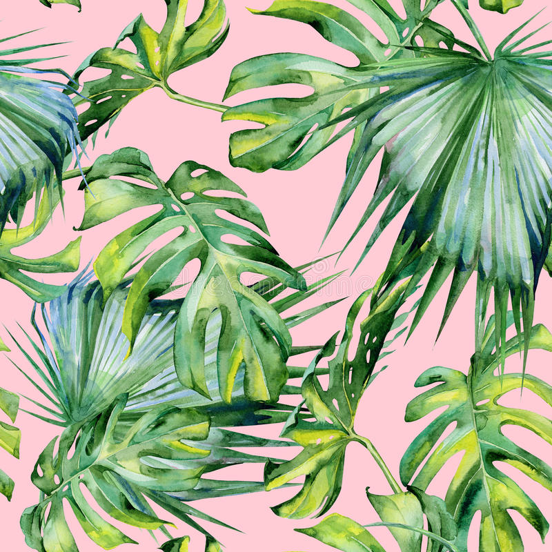 Безшовная иллюстрация тропических листьев, плотные джунгли акварели стоковая фотография