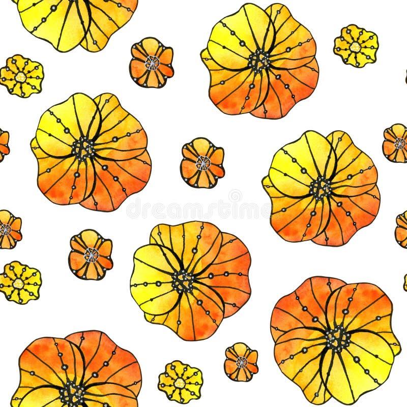 Безшовная картина абстрактных цветков мака, солнцецвета Графики на предпосылке акварели, для дизайна предпосылок, иллюстрация штока