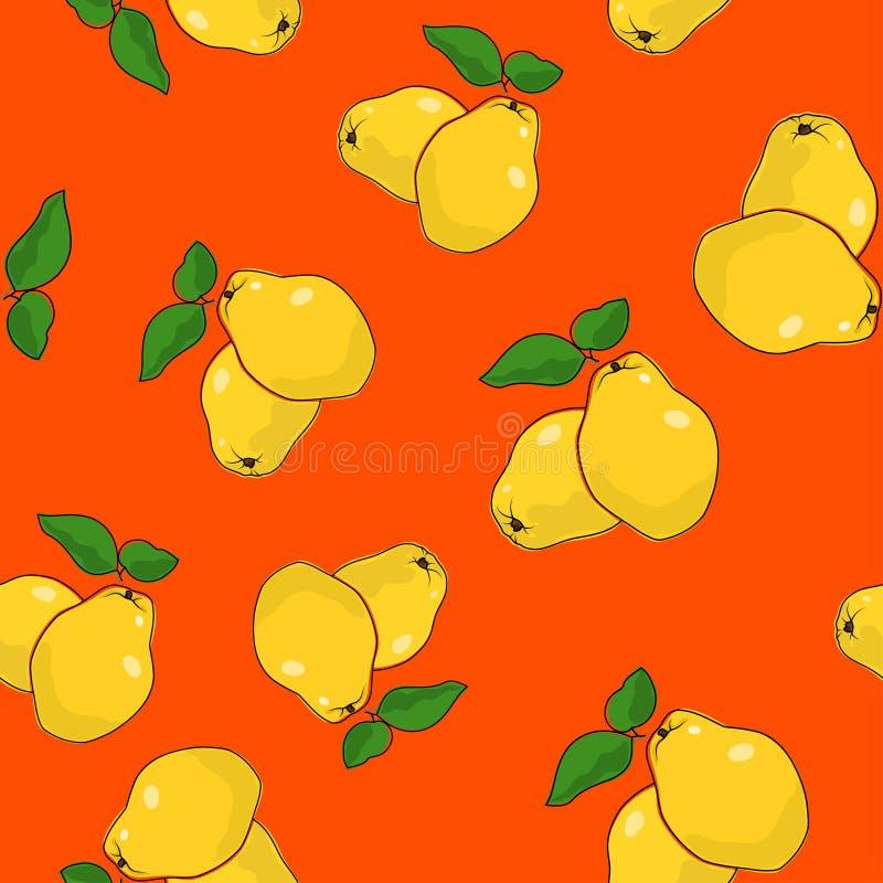 Безшовная картина, айва на оранжевой предпосылке иллюстрация штока