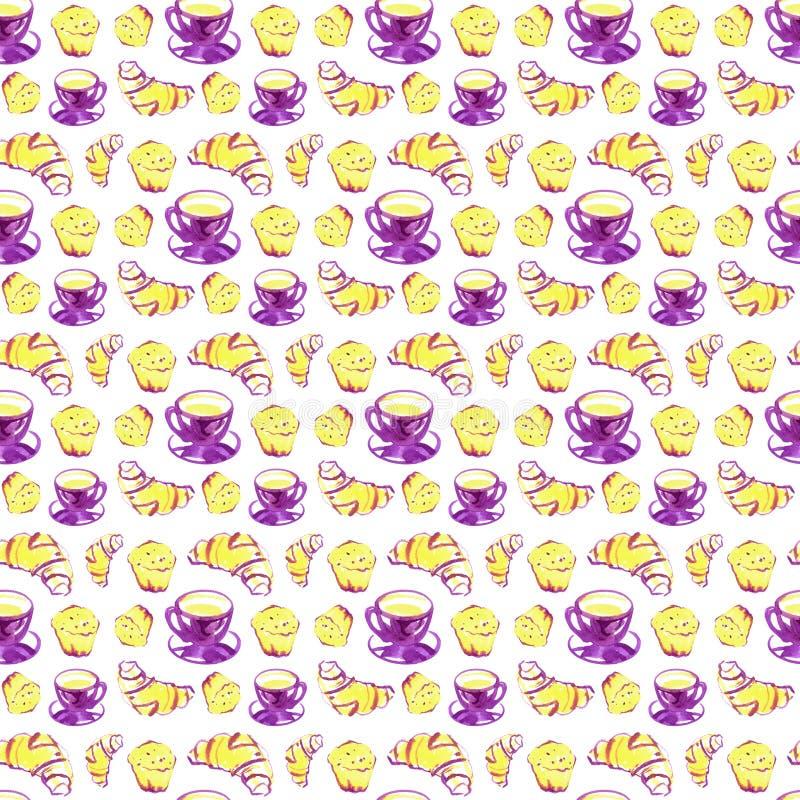 Безшовная картина акварели предпосылки с круассаном, пирожным, чашкой кофе Печать повторения десерта иллюстрация вектора