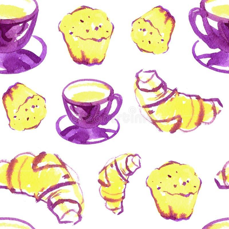 Безшовная картина акварели предпосылки с круассаном, пирожным, чашкой кофе Печать повторения десерта иллюстрация штока