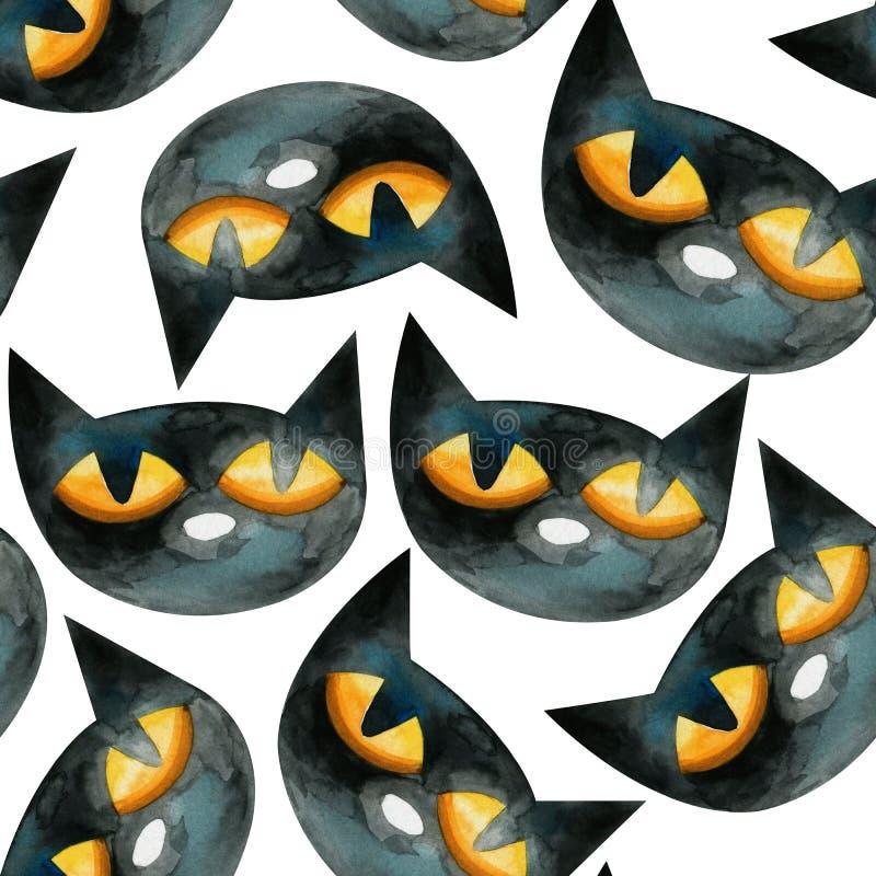 Безшовная картина акварели состоя из голов черных котов бесплатная иллюстрация