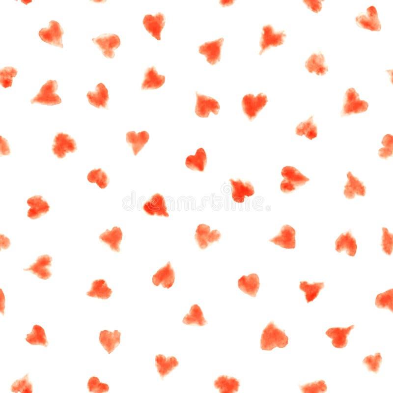 Безшовная картина акварели с красными сердцами на белизне бесплатная иллюстрация