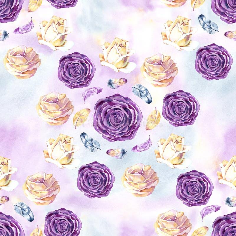 Безшовная картина акварели с розой и пер цветения Винтажная безшовная картина с подняла покрасьте акварель ходов красного цвета б иллюстрация штока