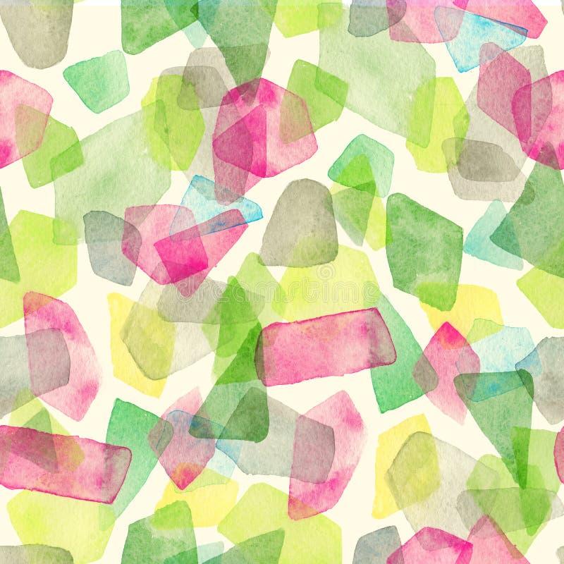 Безшовная картина акварели с, который перекрыли красочными точками - красными, зелеными, серыми подкрасками иллюстрация вектора