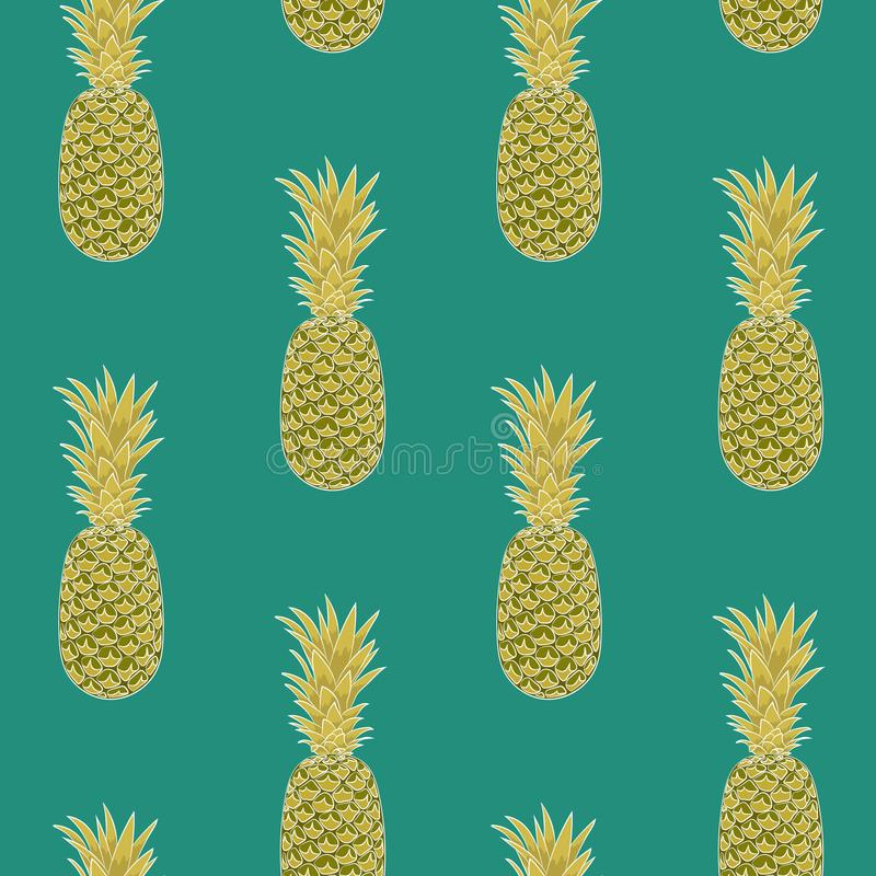 Безшовная картина ананаса на зеленой предпосылке аранжированный вертикально иллюстрация вектора