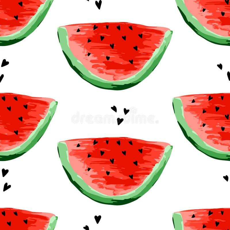 Безшовная картина арбузов Куски арбуза, предпосылки ягоды Покрашенный плод, графическое искусство, мультфильм иллюстрация штока