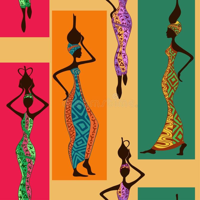 Безшовная картина африканских женщин иллюстрация вектора