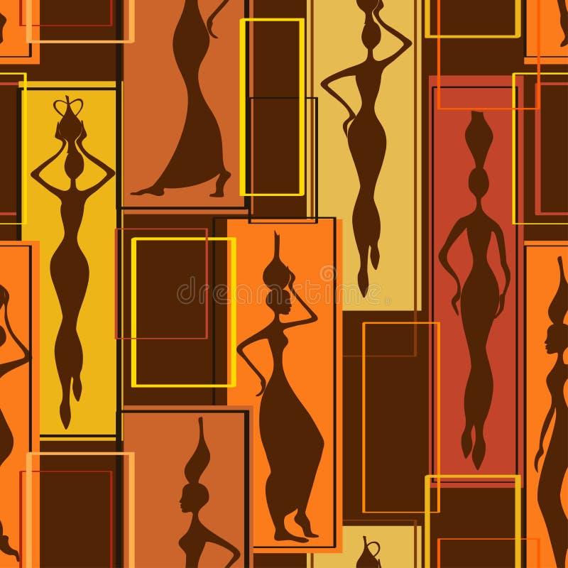 Безшовная картина африканских женщин иллюстрация штока