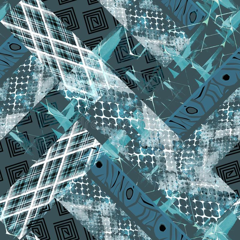 Безшовная картина африканского дизайна Яркая предпосылка с влиянием акварели, заплатка иллюстрация вектора